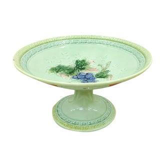 Antique Majolica Pedestal Dish