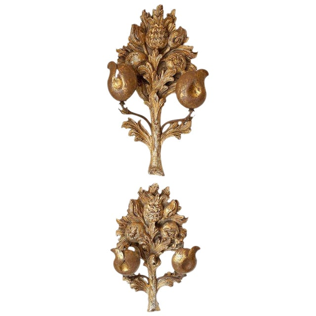 Image of Hand Carved Gilt Wood Sconces