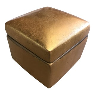Vintage Gold Leaf Terra-Cotta Trinket Box