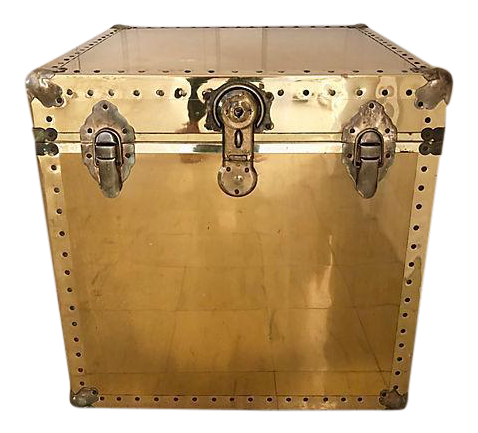 Brass And Wood Trunk / Side Table