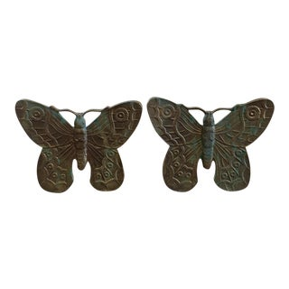 Cast Bronze Butterfly Bookends - A Pair