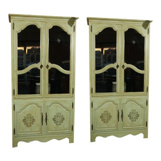Green Painted Baker Armoires - A Pair