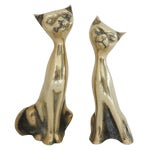 Image of Mid Century Brass Cats - Pair