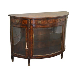 Theodore Alexander Flame Mahogany Regency Style Demilune Curio Base Commode Console
