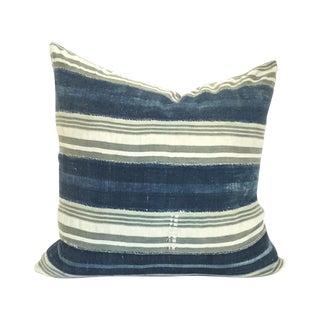 Vintage African Indigo Stripe Pillow