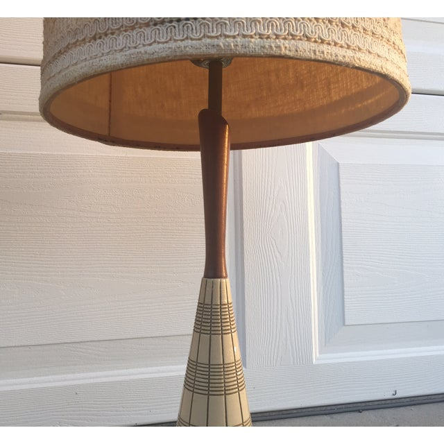 Mid-Century Ceramic & Walnut Lamps - Pair - Image 7 of 10