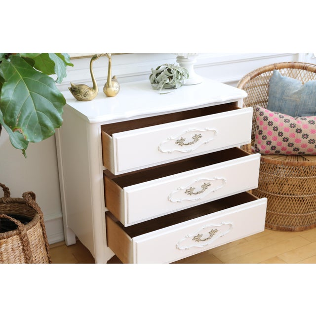 Shabby Chic Vintage White Nightstand - Image 6 of 6