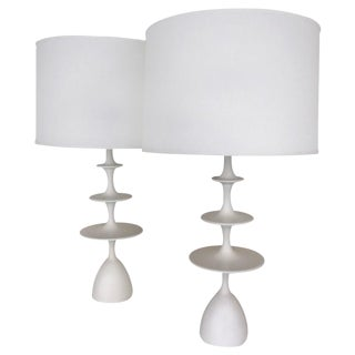 "Gesso ""Metro"" Table Lamps - A Pair"