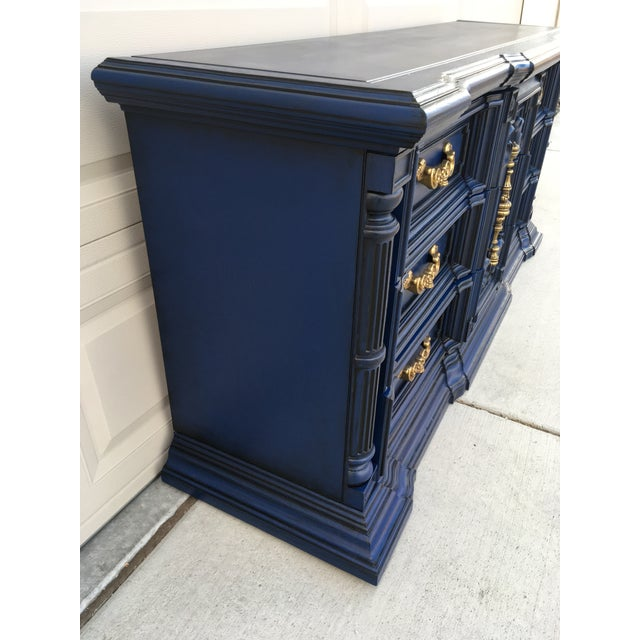 Hand Painted Navy Blue Dresser - Image 5 of 8
