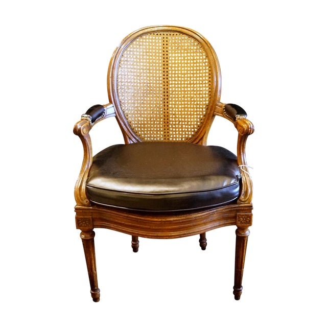 louis xvi style caned fauteuil chairish. Black Bedroom Furniture Sets. Home Design Ideas