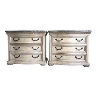 Bassett Marble Top Grand Serenade Nightstands - A Pair