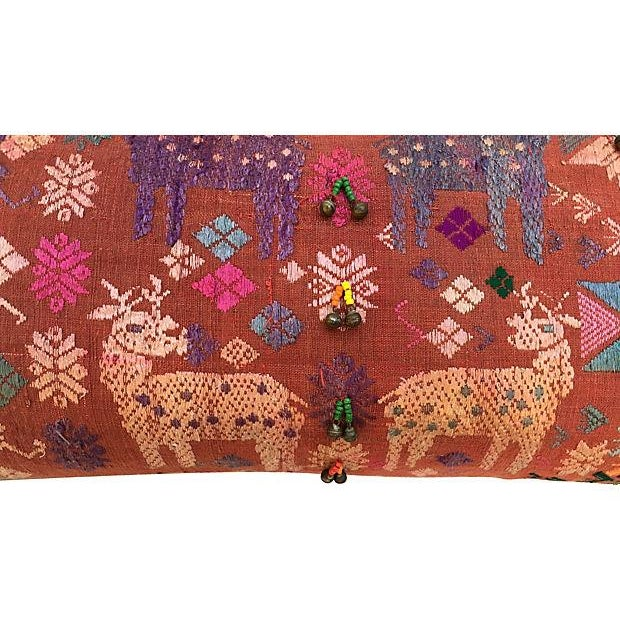 Antique Embroidered Textile Pillow - Image 4 of 8