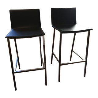 Grey Leather Modern Stools -- A Pair