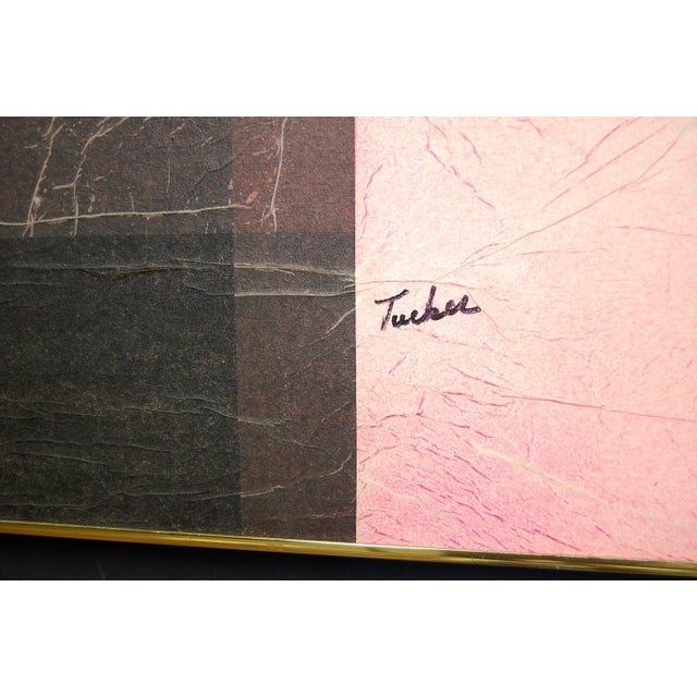 Modernist Pink & Black Mixed Media Painting - Image 3 of 8