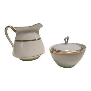 Gilt Banded Pitcher & Sugar Bowl- Set of 2