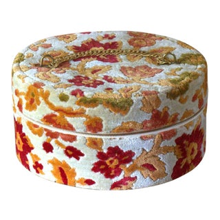 Vintage 1940's Floral Tapestry Style Hat Box