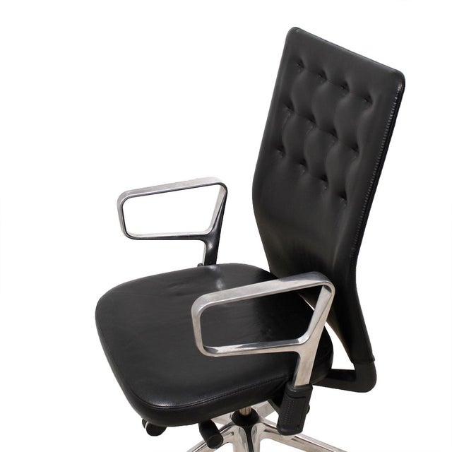Vitra Italian Black Leather Swivel Desk Chair - Image 6 of 9