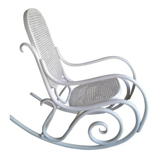 Shabby White Thonet Stamped Bentwood Rocking Chair