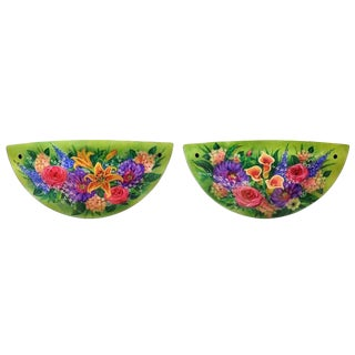 """Ulla Darni Signed Sconce """"Green Floral"""" - A Pair"""