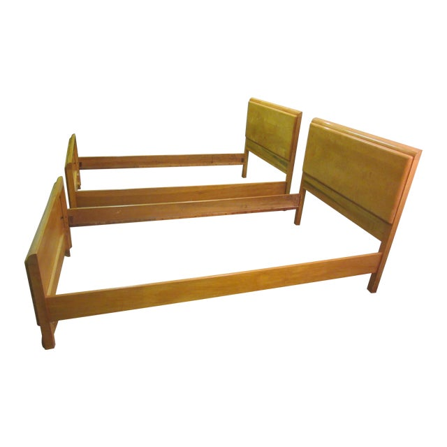 Mid-Century Wakefield Style Twin Beds - A Pair - Image 1 of 11