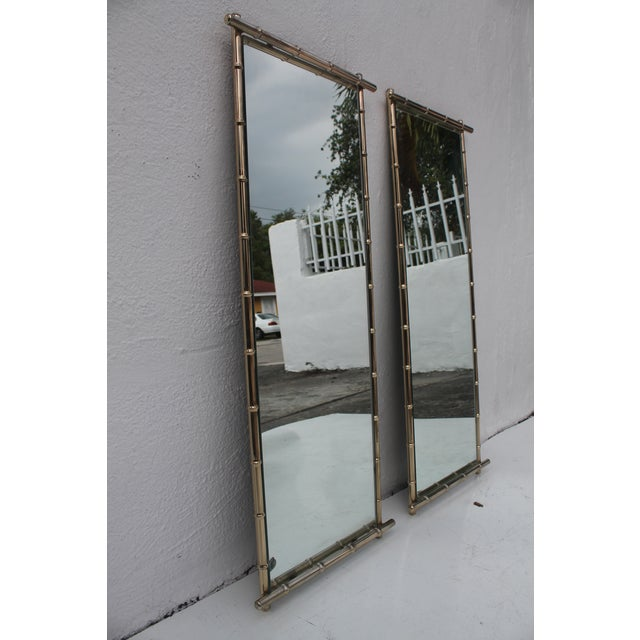Image of George Koch Faux Bamboo Wall Mirrors - A Pair