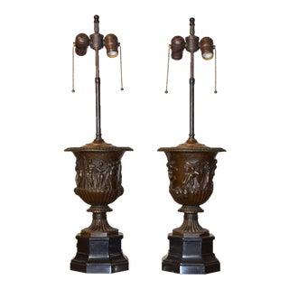 Pair of Barbedienne Bronze Medici Urn Lamps