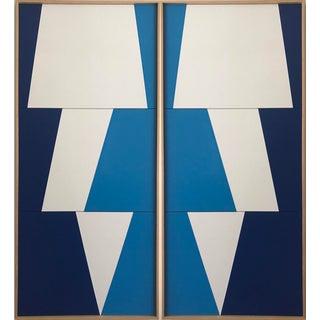 "Jason Trotter Original Acrylic Painting ""Tricolor Blue Double Jagged Triptychs JET0475"""