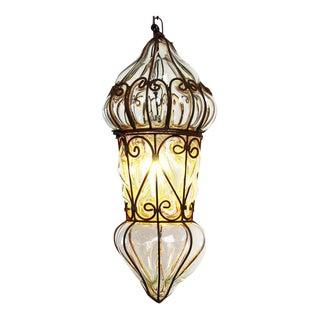 Venetian Glass & Iron Lantern