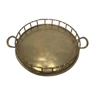 Mid-Century Modern Brass Bamboo Tray