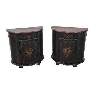 Painted Serpentine Narrow Console Cabinets - Pair