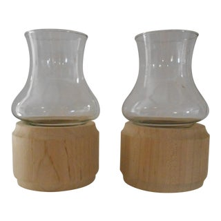 Scandinavian Birch Candlesticks - A Pair
