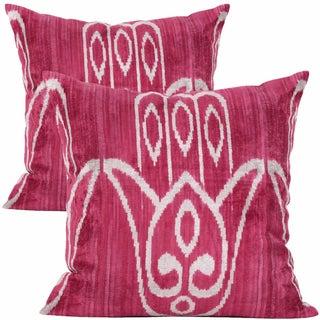 Hamsa Euro Silk Velvet Accent Pillows - a Pair