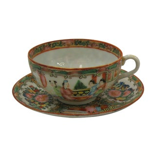 Antique 1850's Rose Medallion China Teacup Set