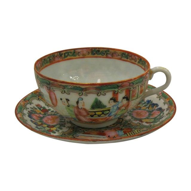 Image of Antique 1850's Rose Medallion China Teacup Set