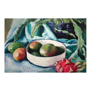 """Neicy Frey """"Mangoes and Dragonfruit"""" Original Still Life Painting"""