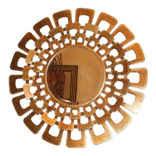 Metallic Sunburst Gold Tone Mirror