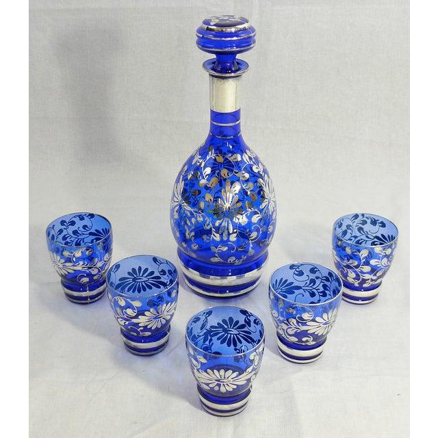 Vintage Venetian Blue Decanter Cordial Set of 6 - Image 2 of 5