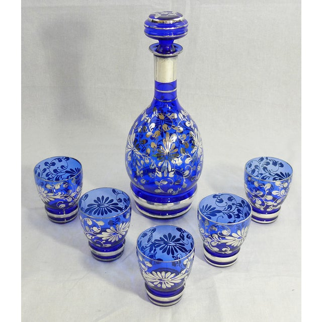 Image of Vintage Venetian Blue Decanter Cordial Set of 6
