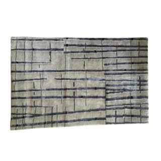 Gray & Dark Blue Abstract Rug - 2' X 3'