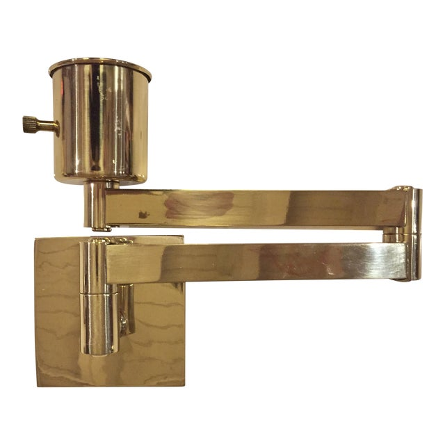 remington lamp co brass swing arm wall sconce chairish. Black Bedroom Furniture Sets. Home Design Ideas