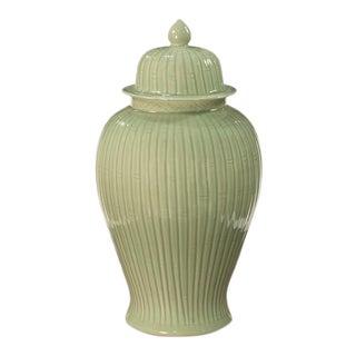 Sarried Ltd Celadon Bamboo Temple Jar