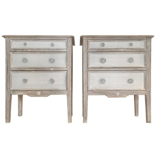 Distressed Painted Burlap French Country Bedside Chests - A Pair
