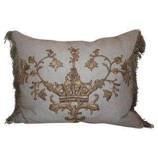 19th Century Metallic Appliqued Linen Pillow