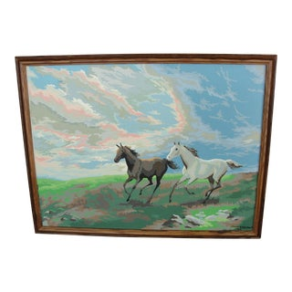Vintage Paint by Numbers 2 Horses Running