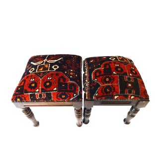 Square Antique Tribal Qashquai Rug Wood Stools - A Pair