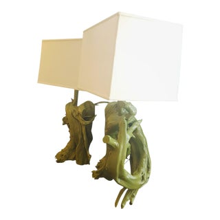 Green Painted Driftwood Custom Lamps - A Pair