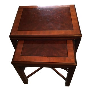 Drexel Chippendale Mahogany End Tables - A Pair