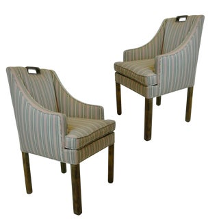 Handsome Pair of James Mont Tuxedo Occasional Armchairs or Dining Chairs