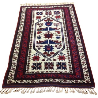 Semi Antique Hand Woven Afghan Tribal Rug 4' x 6'