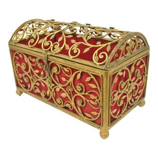 Hollywood Regency Style Gold Jewelry Trinket Storage Box